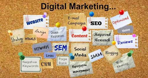 Image of corkboard with Digital Marketing terms pinned to it.